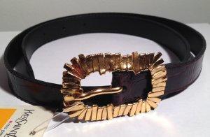 * YVES SAINT LAURANT * NEU ! LEDER REPTIL braun goldene SCHLIESSE S ( 90 cm)