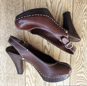 Yves Saint Laurent Clog Sandals brown-dark brown leather