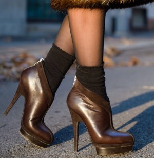Yves Saint Laurent Platform Booties taupe leather