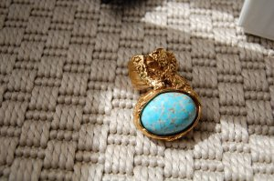 Saint Laurent Statement Ring gold-colored-baby blue metal