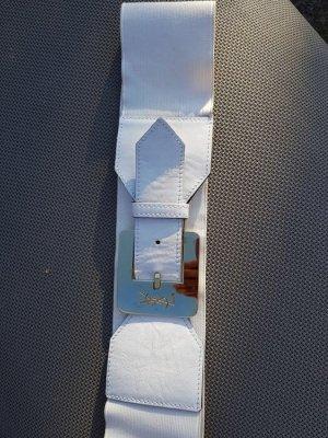 Yves Saint Laurent Cintura di pelle bianco-oro