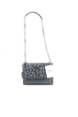 Yves Saint Laurent Handtasche schwarz-silberfarben Party-Look