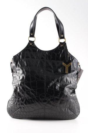 Yves Saint Laurent Henkeltasche schwarz Animalmuster extravaganter Stil