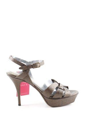 Yves Saint Laurent High Heel Sandaletten bronzefarben grafisches Muster