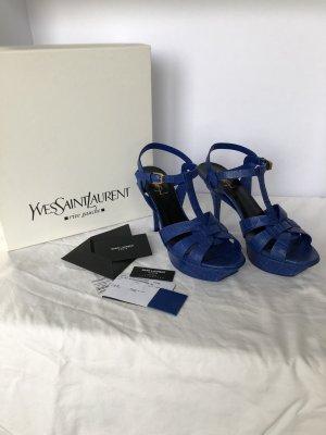 Yves Saint Laurent Sandalo con plateau blu