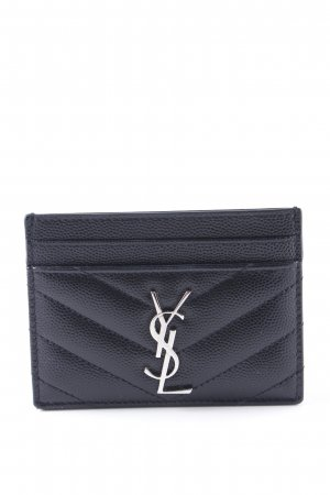 Yves Saint Laurent Tarjetero negro-color plata elegante