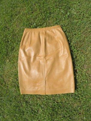 Yves Saint Laurent Leather Skirt sand brown leather