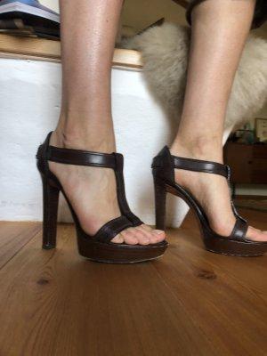 Yves Saint Laurent Sandales à plateforme brun-brun foncé cuir