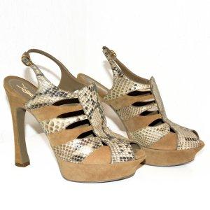Yves Saint Laurent Pumps Sandaletten aus Schlangenleder und Wildleder