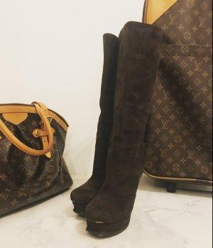 Yves Saint Laurent High Heel Boots black brown leather