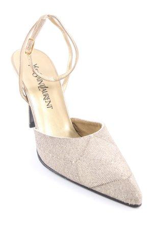 Yves Saint Laurent Riemchen-Sandaletten goldfarben extravaganter Stil