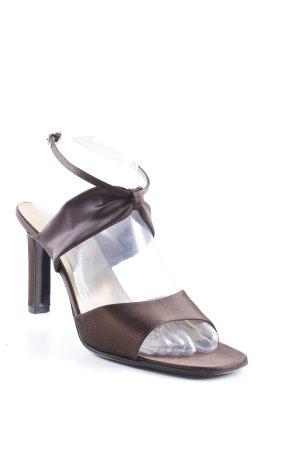 Yves Saint Laurent Riemchen-Sandaletten schwarzbraun-goldfarben