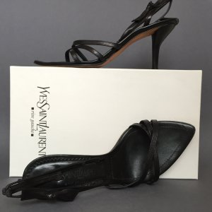 Saint Laurent Strapped High-Heeled Sandals black leather