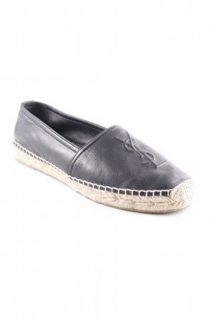 "Yves Saint Laurent Schlüpfschuhe ""YSL Monogramme Espadrilles Leather Black"""