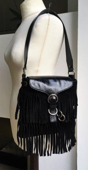 Yves Saint Laurent Bolso de flecos negro-color plata Gamuza