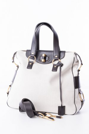 YVES SAINT LAURENT - Shopper Beige Leinen