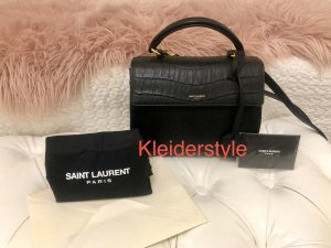 Yves Saint Laurent Small Moujik Embossed Leather Bag Black