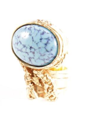 Yves Saint Laurent Statementring goldfarben-hellblau extravaganter Stil