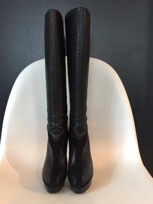 Yves Saint Laurent Botte à plateforme noir cuir