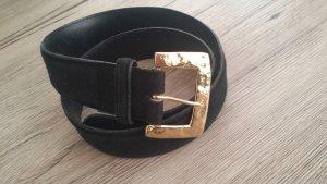 Yves Saint Laurent Cintura vita nero-oro Pelle