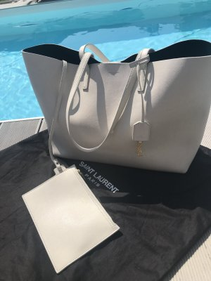 Saint Laurent Shopper blanc cuir