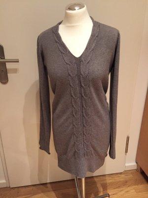 Zabaione: Feinstrick Pullover mit Zopfmuster Gr. M Grau