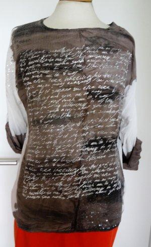 Zabaione Shirt mit Schriftdetails und Pailletten, gedoppelt