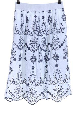Zabaione Kanten rok wit-donkerblauw bloemen patroon casual uitstraling