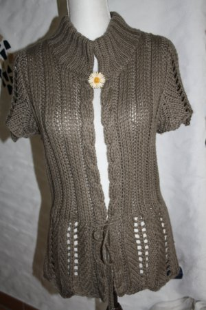 Zabaione Gilet tricoté gris vert tissu mixte