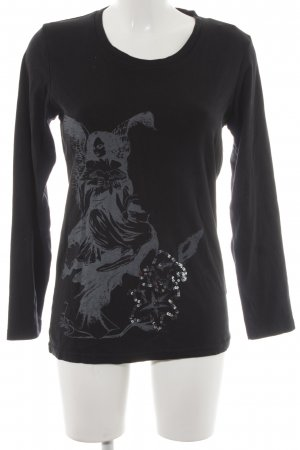 Zabaione Sweatshirt schwarz-grau Motivdruck Casual-Look