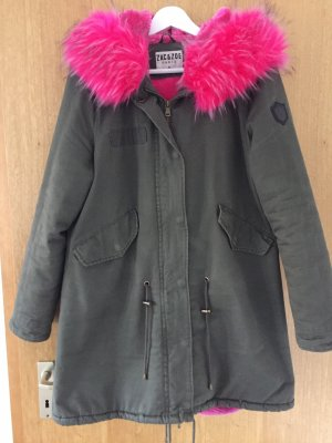 Zac & Zoe Hooded Coat neon pink-olive green