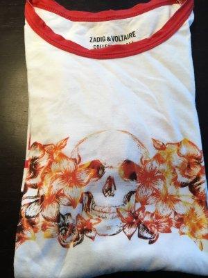 Zadig & Voltaire Lang shirt wit-oranje