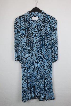 Zadig & Voltaire Kleid Gr. M schwarzes Kleid mit blauem Blumenmuster (18/4/177)