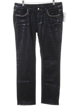Zadig & Voltaire Straight-Leg Jeans schwarz-dunkelviolett Glanz-Optik