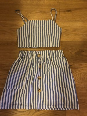 ZAFUL Smocked Striped Top and Belted Skirt Set