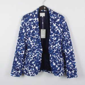 Zalando Blazer Gr. M blau/weiß Blumenprint (18/11/483)