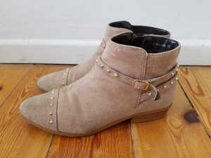 Zalando Chelsea Boots 36 taupe nude Leder Nieten Stiefeletten Stiefel Ankleboots