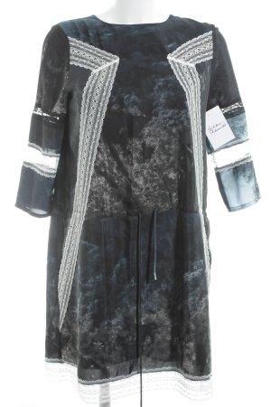 Zalando Collection Langarmkleid petrol-weiß abstraktes Muster Elegant