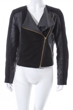 Zalando Collection Lederjacke schwarz Biker-Look