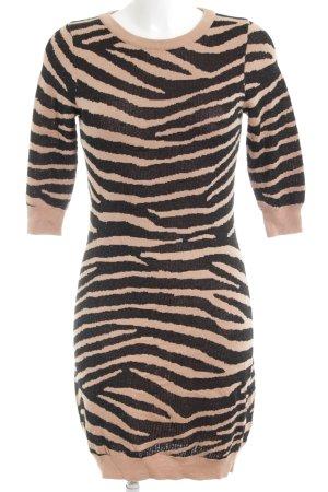Zalando Collection Wollen jurk zwart-abrikoos dierenprint dierenprint