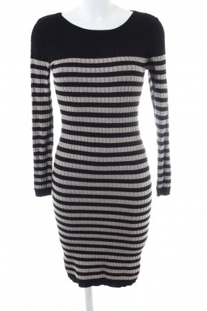 Zalando Gebreide jurk zwart-lichtgrijs gestreept patroon casual uitstraling