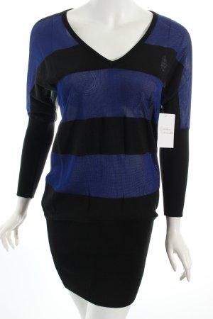 Zalka Longpullover dunkelblau-schwarz Ringelmuster Casual-Look