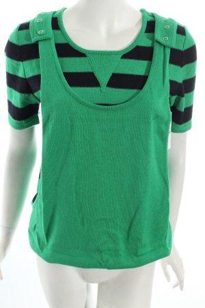Zalka Strickshirt grün-dunkelblau Ringelmuster Casual-Look
