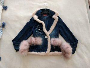 Zana Italy Jeans Jacke Blazer S 34 36 mit echt Pelz NP 390 eu