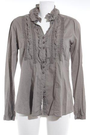 Zanetti Moda Rüschen-Bluse graubraun Elegant