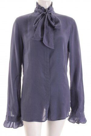 Zanetti Moda Schluppen-Bluse blauviolett Romantik-Look