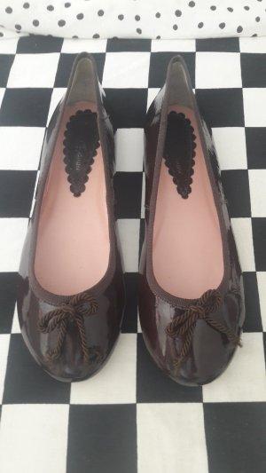 Zanon & Zago Patent Leather Ballerinas dark brown