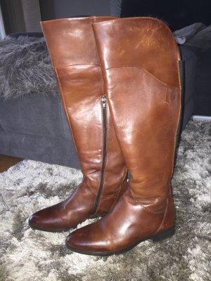 Zanon & Zago Overknees cognac-coloured-brown leather