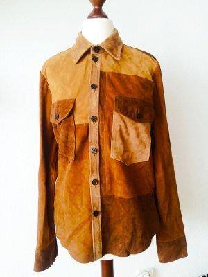 Zara 100% Leder Bluse Hemd Patchwork Neu mit Etikett M
