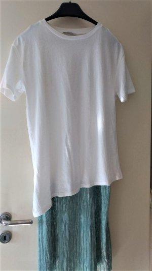 Zara - 2 tlg. Kleid mit Plissee Gr. M weiß-türkis-silber